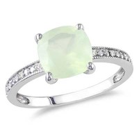 8.0mm Cushion-Cut Prehnite and Diamond Accent Ring in 10K White Gold