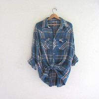 distressed Vintage Plaid Flannel / Grunge Shirt / Wrangler cotton pearl snap western shirt