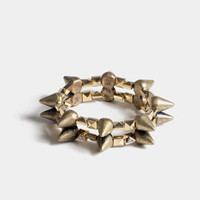 Stretchy Spikey Studded Bracelet in Bronze-Gold