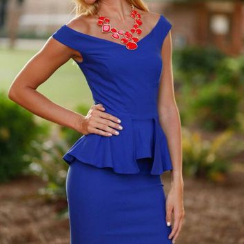 A Battle Royal Blue Peplum Dress - Lotus Boutique