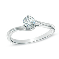 1/3 CT. Diamond Solitaire Bypass Engagement Ring in 14K White Gold