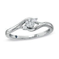 Cherished Promise Collection™ 1/10 CT. T.W. Composite Diamond Flower Promise Ring in 10K White Gold