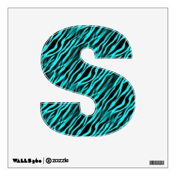 Aqua Black Zebra Stripe Personalized Letter Decal