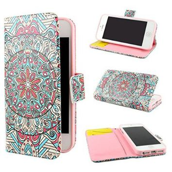 """ivencase Tribal Design Wallet PU Leather Stand Flip Case Cover For Apple iPhone 5 5S + One """"ivencase """" Anti-dust Plug Stopper"""