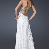 Strapless White & Gold Prom Dress by La Femme