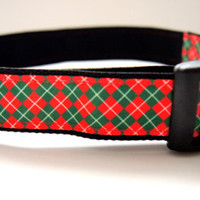 Christmas Argyle Dog Collar Adjustable Sizes M, L, XL)