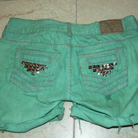 Custom Denim Shorts - Mint Green with Pyramid Studs