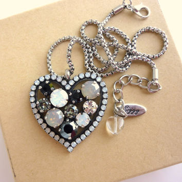Big fancy Swarovski crystal detachable heart pendant , white opal, gray and jet, designer inspired Siggy bling