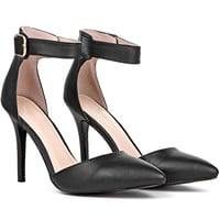 Clyde PU Pointy Stiletto With Ankle Strap in Black