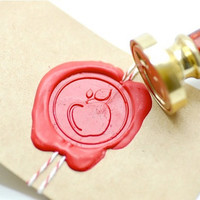 Apple Fruit B20 Gold Plated Wax Seal Stamp x 1