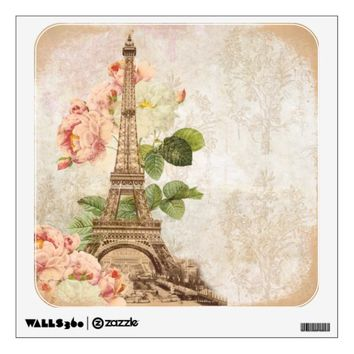 Paris Vintage Pink Roses Wall Decal