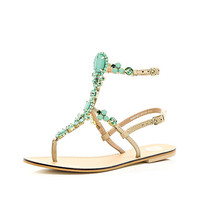 Turquoise gem stone high leg sandals - flat sandals - shoes / boots - women