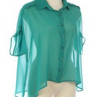 CHIFFON CHIC TAB SLEEVE BUTTON DOWN SHIRT @ KiwiLook fashion