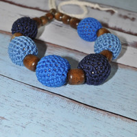 Nursing/Teething Necklace and Teething Ring- Blues and Cream - Eco Baby Teething- Eco Mom Jewelry