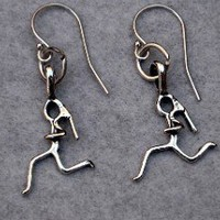 STERLING SILVER I AM A RUNNING GIRL EARRINGS - Sterling Silver pendants on a 12mm French Ear Wire with a 2mm ball