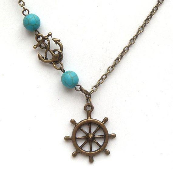 Antiqued Brass Helm Anchor  Turquoise Necklace