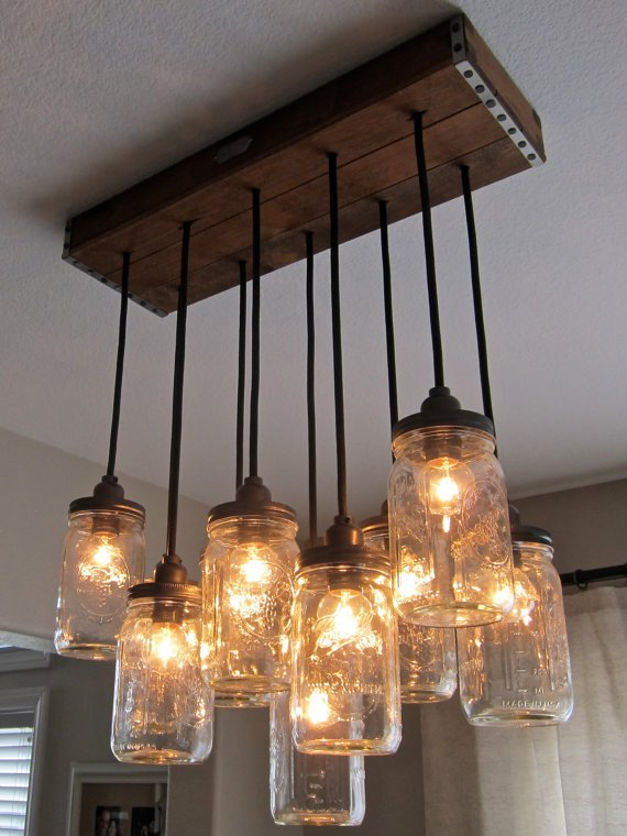 Reserved for Kevin - Handcrafted Mason Jar Pendant Chandelier  w/ Rustic Style Wood Crate Canopy