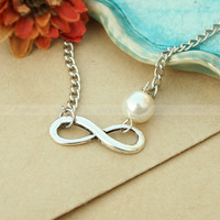 Infinity necklace- love karma pearl infinity necklace, gift for BBF, wife and girlfriend
