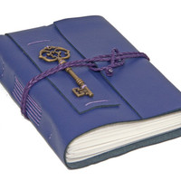 Purple Leather Journal with Lined Paper and a Key Bookmark