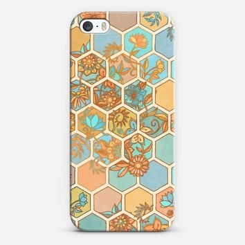Golden Honeycomb Tangle - hexagon doodle in peach, blue, mint & cream iPhone 5s case by Micklyn Le Feuvre | Casetify