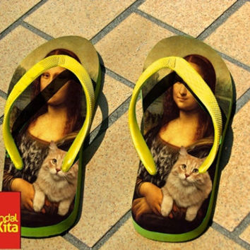 Flip Flops - Mona Lisa and Cat