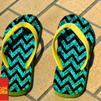 Flip Flops - Mint Glitter and Chevron Pattern