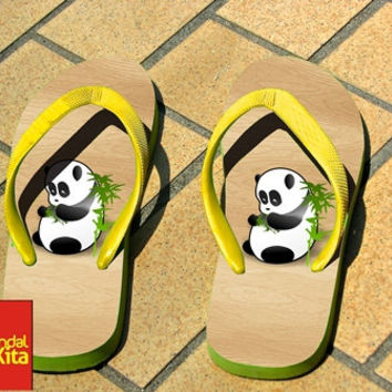 Flip Flops - panda black white wood