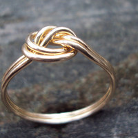 Double band knot ring, 14kt gold filled, 18g, yellow or rose, any size,