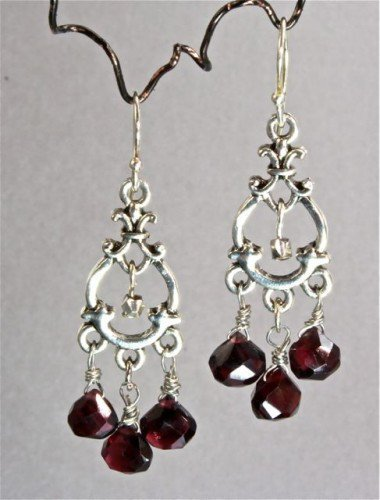 Garnet and Silver Earrings | adora_by_simona - Jewelry on ArtFire