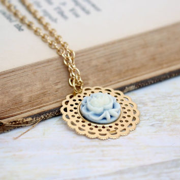 Simple Cream and Light Blue Resin Rose Flower Pendant in Gold with Lace Edging - Vintage Style Necklace - Ready to Ship