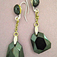 Jet Black Glass Earrings Sterling Silver Crystal Faceted Vintage Dangle Drop Chic