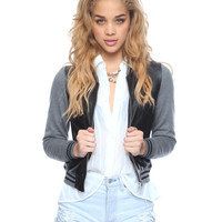 Contrast Leatherette <br> Baseball Jacket