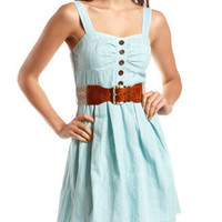Belted Cotton A-Line Dress