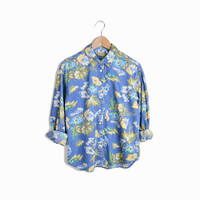 Vintage 90s Floral Denim Shirt - m