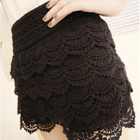 Vintage High Waist Tiered Lace Shorts