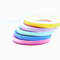 Narrow Rainbow Set of 5 Colors of Washi Tape  - Pink -  Blue -  Mint -  Yellow - Purple - 5mm Wide Each