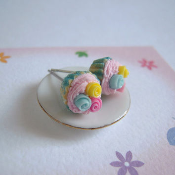 Sweet Cupcake Stud Earrings, Pink Cream, Polymer Clay Miniature Cake, Stainless Steel Post
