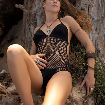 crochet monokini one piece swimsuit