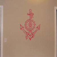 Wall Decal Nautical Ships Wheel & Anchor Vinyl Wall Art Graphic Sticker