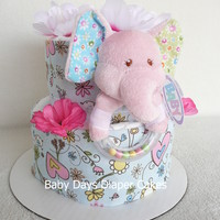 Mary Meyer Ella Bella Petite Rattle Cake - baby girl - beautiful baby gift - baby girl elephant - small diaper cake