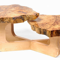 Spalted Maple and Inlay Hand Carved Mushroom Table