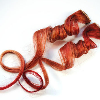 Cinnamon / Human Hair Extension / Auburn Deep Red / Long Tie Dye Colored Hair