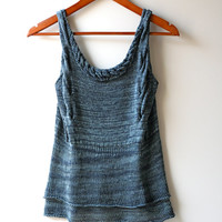 SALE Ready to Ship: The Sionann Tunic ~ Midnight Blue Sapphire Hand Knit 100% Silk Layered Tank Top with Cable Details in Midnight Blue