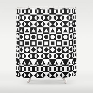 Black And White Shower Curtain by Ornaart
