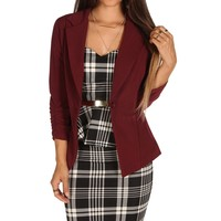 Burgundy Basic Business Blazer
