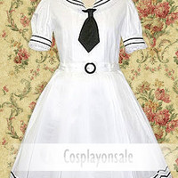 Lolita Costumes Cotton White Tie Short Sleeves School Lolita Dress [T110323] - $73.00