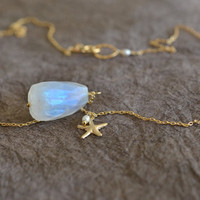 Dreamy Beachy Rainbow Moonstone & Gold Starfish Charm Necklace