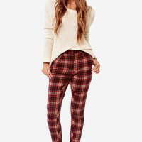 Lucca Couture Lily Plaid Red Plaid Pants