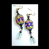 CIRCUS CANDY and Crystal Dangle Earrings | whiteowldesigns - Jewelry on ArtFire