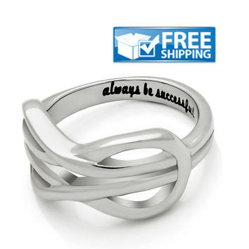 "Unisex Friend Gift - Double Infinity Purity Ring Engraved on Inside with ""Always Be Successful"", Sizes 6 to 9"